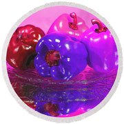 Purple Peppers Round Beach Towel