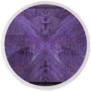 Purple Poeticum Round Beach Towel
