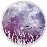 Purple Skies Round Beach Towel