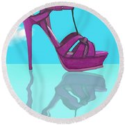 Purple Stilt Stilettos Reflections Round Beach Towel
