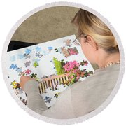 Puzzle Therapy Round Beach Towel