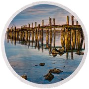 Pylons In Humboldt Bay Round Beach Towel
