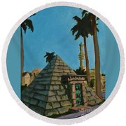 Pyramid Tomb In Cemetary Round Beach Towel