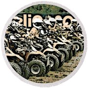 Quad Racers Round Beach Towel