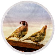 Quail And His Lady Round Beach Towel