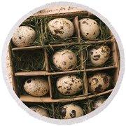 Quail Eggs In Box Round Beach Towel