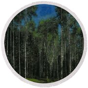 Quaking Aspens Round Beach Towel