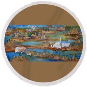 Quality Time At The Marsh Round Beach Towel