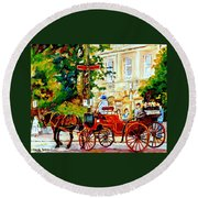 Quebec City Street Scene The Red Caleche Round Beach Towel