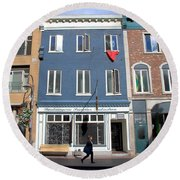 Quebec City Street View Round Beach Towel