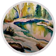 Quebec Winter Landscape Round Beach Towel