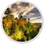 Quechee Gorge In The Fall  Round Beach Towel