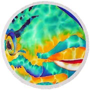 Queen Parrotfish Round Beach Towel by Daniel Jean-Baptiste