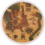 Quetzalcoatl, Aztec Feathered Serpent Round Beach Towel