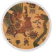 Quetzalcoatl, Aztec Feathered Serpent Round Beach Towel