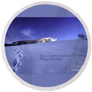 Quiet And Peaceful Christmas Round Beach Towel