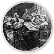 Quilting Party, 1864 Round Beach Towel