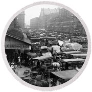 Quincy Market From Faneuil Hall - Boston - C 1906 Round Beach Towel