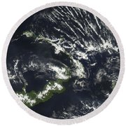 Rabaul Volcano On The Island Of Papua Round Beach Towel by Stocktrek Images