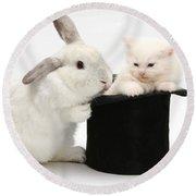 Rabbit And Kitten In Top Hat Round Beach Towel