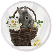 Rabbit In A Basket With Flowers Round Beach Towel