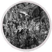 Rabelais: Gargantua And Pantagruel.  Illustration Of The Life Of Gargantua And Of Pantagruel By Fran�ois Rabelais. Wood Engraving, 1873, After Gustave Dor� Round Beach Towel