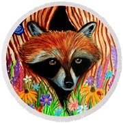 Raccoon And Butterfly Round Beach Towel