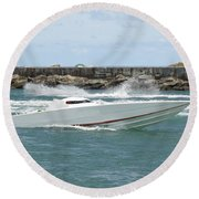 Race Boat Round Beach Towel