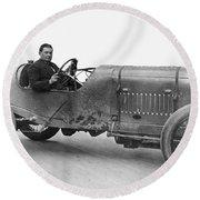Race Car, 1914 Round Beach Towel