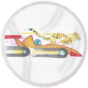 Race Car And Cheetah Cartoon Round Beach Towel
