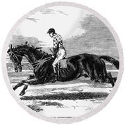Race Horse, 1857 Round Beach Towel
