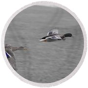 Race To The Water Round Beach Towel