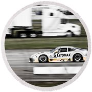 Racing By Round Beach Towel by Darcy Michaelchuk