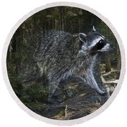 Racoon Emerging From The Woods Round Beach Towel