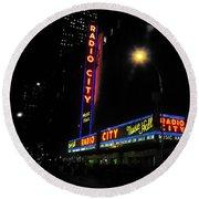 Radio City Music Hall - Greeting Card Round Beach Towel
