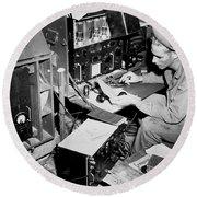Radio Operator Operates His Scr-188 Round Beach Towel