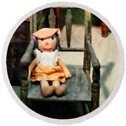 Rag Doll In Chair Round Beach Towel