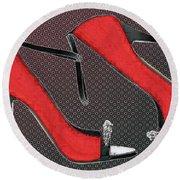Raging Red Open Toed Stilettos Round Beach Towel