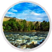Raging River Round Beach Towel by Robert Bales