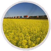 Rail Cars Carrying Containers Passe Round Beach Towel