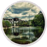 Rail Swing Bridge Round Beach Towel