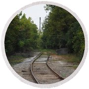 Rail To The Forest Round Beach Towel