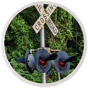 Railroad Crossing Light And Greenery Round Beach Towel
