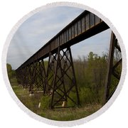 Railroad High Bridge 3 Round Beach Towel