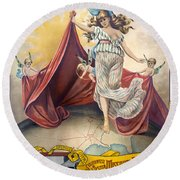 Railroad Poster, C1890 Round Beach Towel