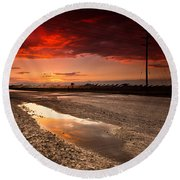 Railroad Reflection Round Beach Towel