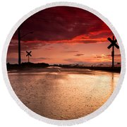 Railroad Sunset Round Beach Towel