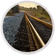 Railroad Tracks At Sundown Round Beach Towel