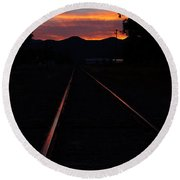 Rails Into The Rogue Sunset Round Beach Towel
