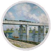Railway Bridge At Argenteuil Round Beach Towel